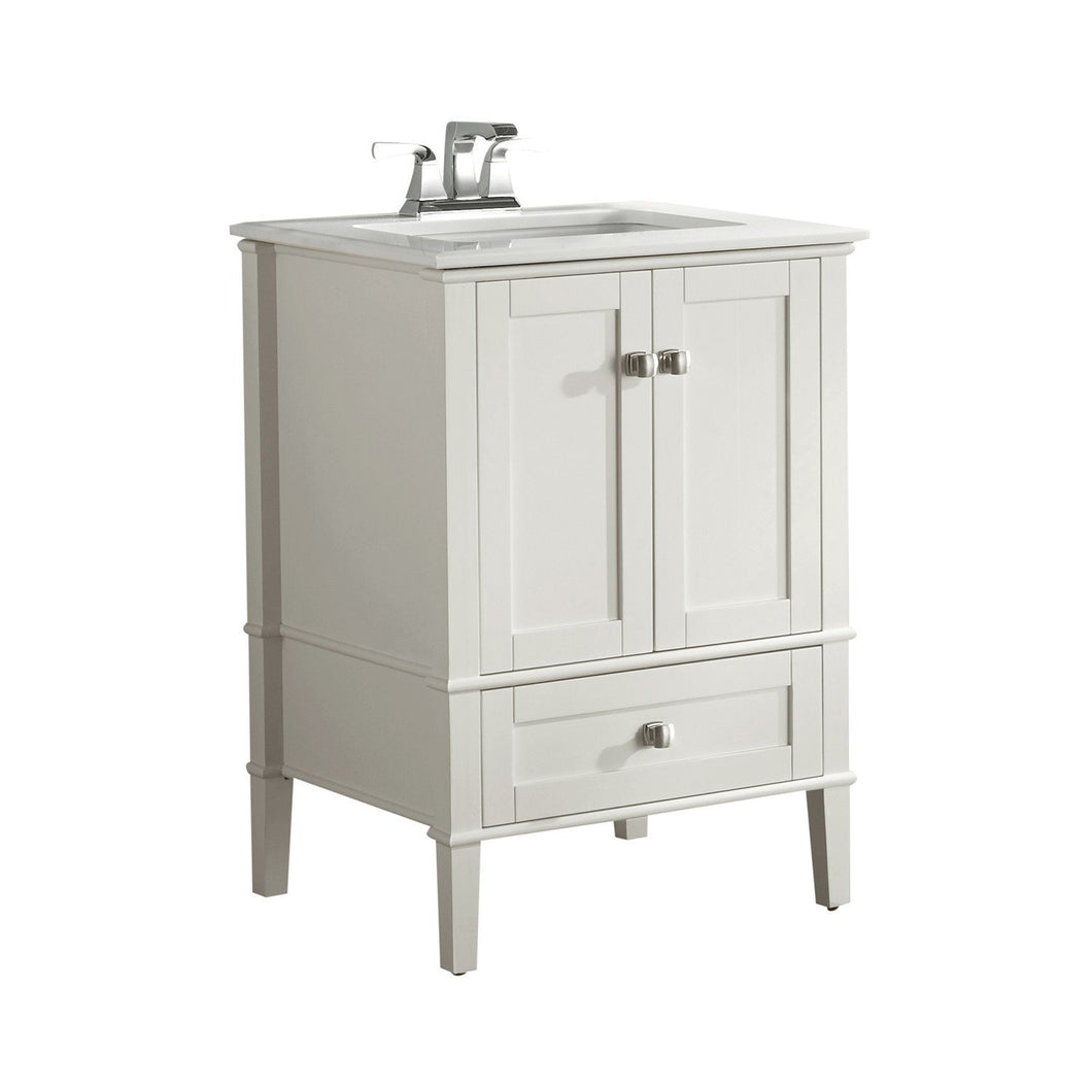 Chelsea 24 Inch Bath Vanity In Grey With White Quartz Marble Top Simpli Home