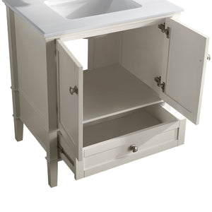 Chelsea 30 inch Bath Vanity with White Quartz Marble Top