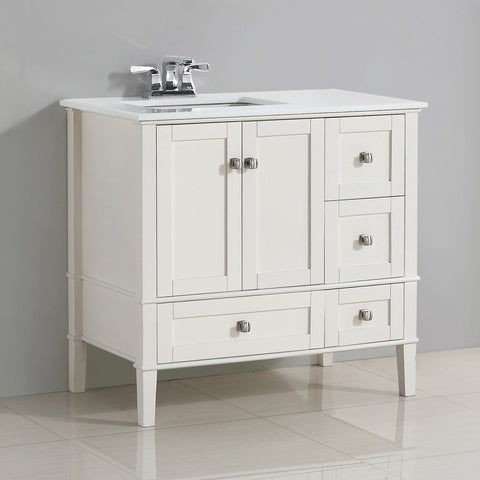 Left Offset Soft White | 36 inch Chelsea Bath Vanity with White Quartz Marble Top