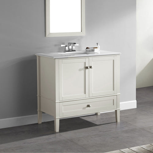 Center Soft White | 36 inch Chelsea Bath Vanity with White Quartz Marble Top