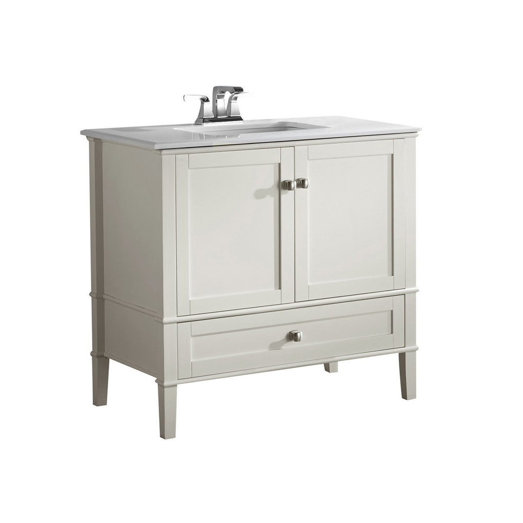 36 inch Chelsea Bath Vanity with White Quartz Marble Top