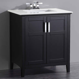 "Black | Winston 30"" Bath Vanity with White Quartz Marble Top"