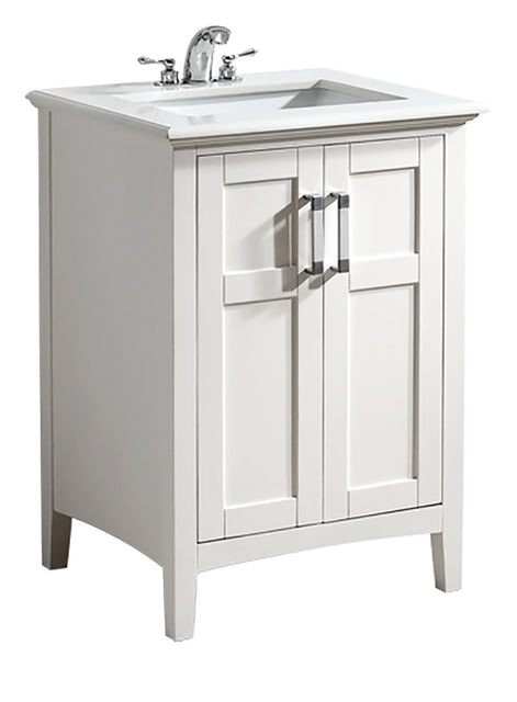 "Load image into Gallery viewer, Soft White | Winston 24"" Bath Vanity with White Quartz Marble Top"