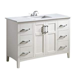 "Soft White | Winston 48"" Bath Vanity with White Quartz Marble Top"