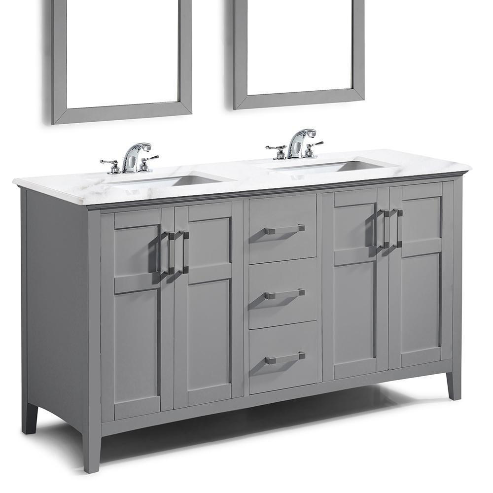 lovely Cheap 60 Inch Bathroom Vanity Part - 16: Winston 60 inch Bath Vanity with Bombay White Engineered Quartz Marble Top