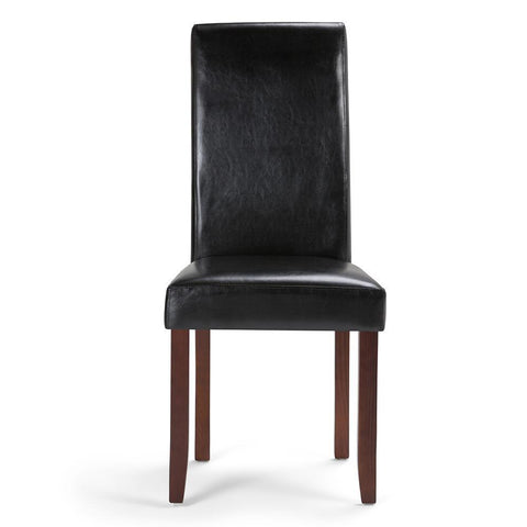 Midnight Black PU Faux Leather | Acadian Faux Leather Parson Dining Chair (Set of 2)