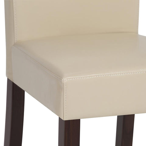 Satin Cream PU Faux Leather | Acadian Faux Leather Parson Dining Chair (Set of 2)