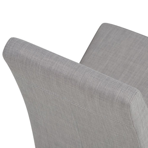 Dove Grey Linen Look Polyester Fabric | Acadian Faux Leather Parson Dining Chair (Set of 2)