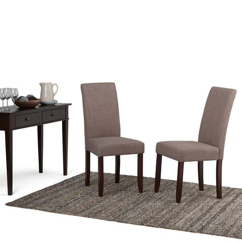 Light Mocha Linen Look Polyester Fabric | Acadian Faux Leather Parson Dining Chair (Set of 2)