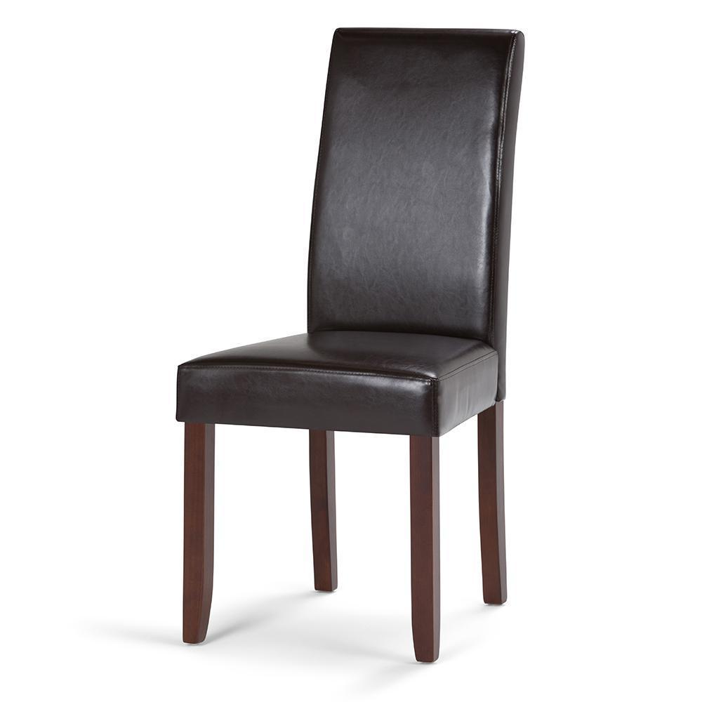 Acadian Faux Leather Parson Dining Chair In Tanners Brown