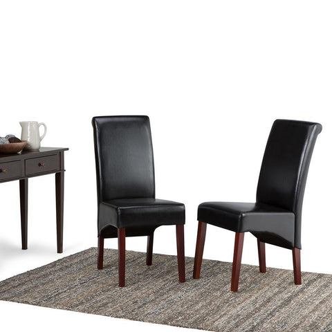 Midnight Black PU Faux Leather | Avalon Faux Leather Parson Dining Chair (Set of 2)