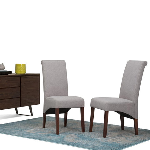 Cloud Grey Linen Look Polyester Fabric | Avalon Faux Leather Parson Dining Chair (Set of 2)