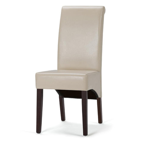 Satin Cream PU Faux Leather | Avalon Faux Leather Parson Dining Chair (Set of 2)