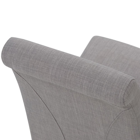 Dove Grey Linen Look Polyester Fabric | Avalon Faux Leather Parson Dining Chair (Set of 2)