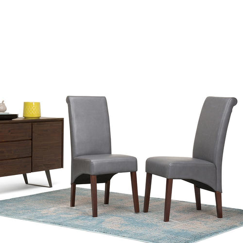 Stone Grey PU Faux Leather | Avalon Deluxe Parson Dining Chair (Set of 2)