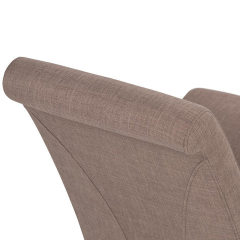 Light Mocha Linen Look Polyester Fabric | Avalon Faux Leather Parson Dining Chair (Set of 2)