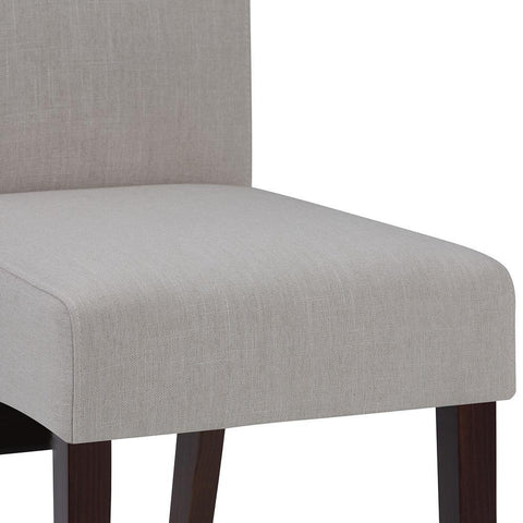 Natural Linen Look Polyester Fabric | Avalon Faux Leather Parson Dining Chair (Set of 2)