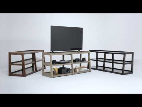 Load and play video in Gallery viewer, Sawhorse Solid Wood Wide TV Media Stand For TVs upto 66 Inches