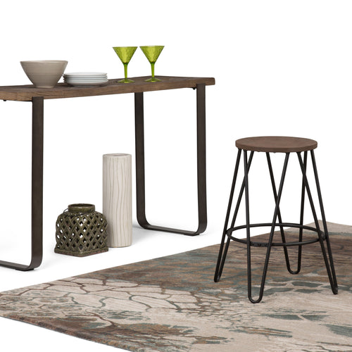 Cocoa Brown | Simeon 24 inch Metal Counter Height Stool with Wood Seat