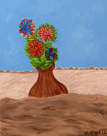 VASE OF FLOWERS IN THE SAND