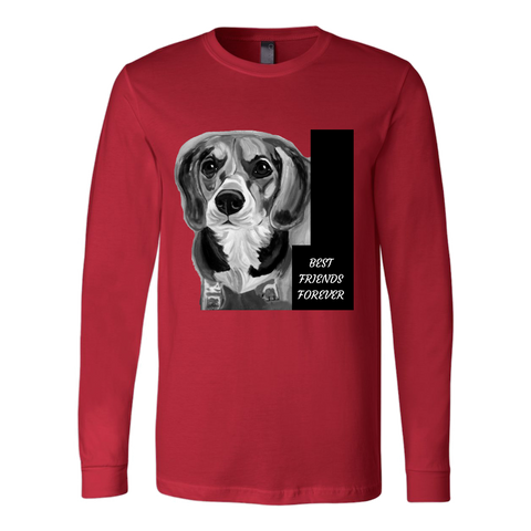 "SHIRTS- DOG LOVERS ""BEST FRIENDS FOREVER"" UNISEX LONG SLEEVE TEE- 6 colors-5 sizes"