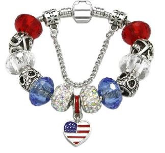 JEWELRY -USA AMERICAN FLAG HANDMADE WOMEN'S BRACELETS-5 lengths,  - FREE SHIPPING