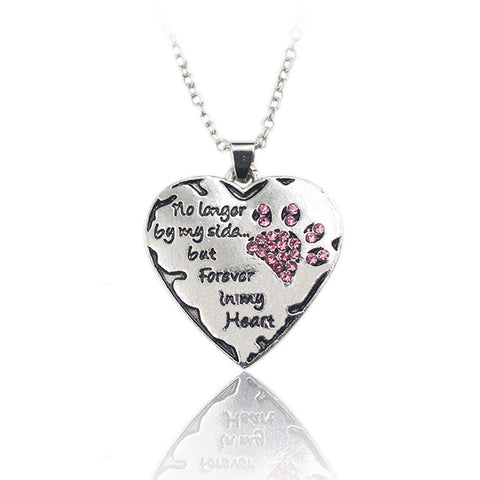 "QIHE JEWELRY ""no longer be my side but forever in my heart"" Pink White Silver Crystal Cats Dogs Paws Claw Print & Heart Necklace"