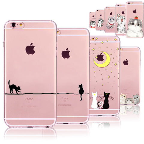 LOVE CATS Cute Cats Phone Cases For iphone 6 6S 7 8 7PLUS 8P 5 5S SE 6PLUS 6SPlus Funny Cat Animals Clear TPU Cover Coque For i6 7 8 Case