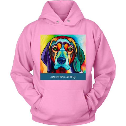 "SHIRTS- DOG LOVERS""KINDNESS MATTERS""  LONG SLEEVE UNISEX HOODIE-11 colors-8 sizes"