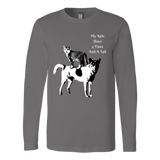 "SHIRTS-CAT AND DOG LOVERS ""MY KIDS HAVE 4 PAWS AND A TAIL"" UNISEX LONG SLEEVE TEE- 5 colors-5 sizes"