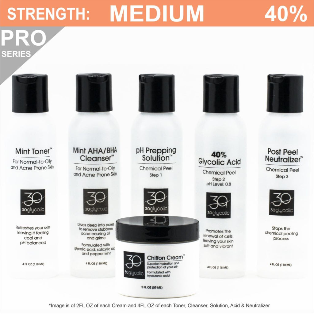 Pro-Series 40% Deluxe Glycolic Peel System for Combo/Oily/Acne Skin