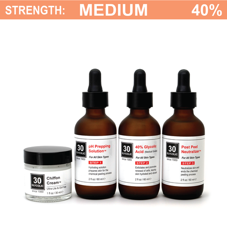 40% Glycolic Peel System for All Skin Types (including Keratosis, Psoriasis)