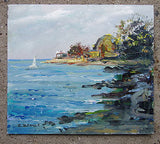 E.BEDNES Unframed Oil Painting Coastal Scene,Other Art - Hatherley Fine Art Gallery