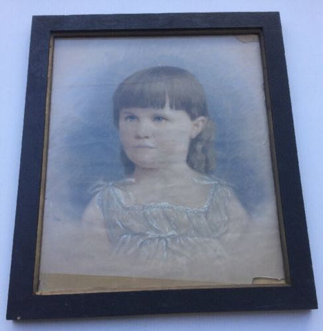 Colonial Pastle Portrait of a Young Girl Circa 1830s