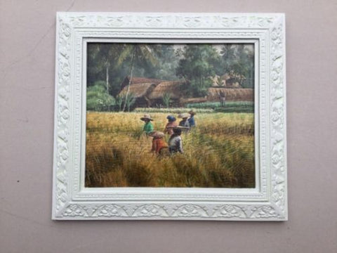 Illegible Oil Painting Framed 1981 Rice Paddy,Paintings - Hatherley Fine Art Gallery