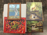 Set Of 4 Oil Paintings 1 By M.hawkins 1 By I.r.Young,Paintings - Hatherley Fine Art Gallery