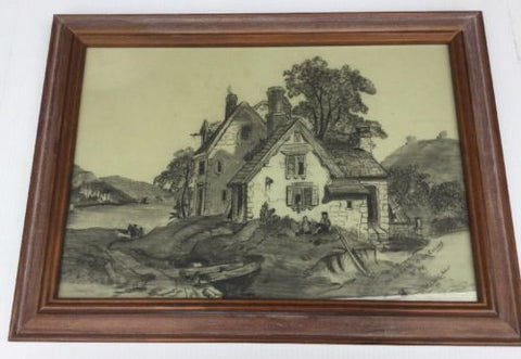 1911 Signed Pencil Work On The Banks Of The Conway Framed