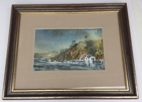 Coastal Scene Watercolour Framed,Paintings - Hatherley Fine Art Gallery