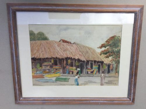 Watercolour Painting Village Scene,Paintings - Hatherley Fine Art Gallery