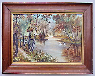 1900s Oil Swans On The lake Painting,Other Art - Hatherley Fine Art Gallery