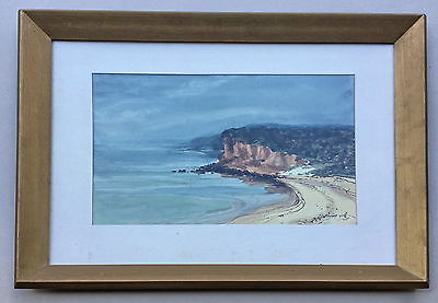 F.D ? Bay Scene Watercolour Framed Painting