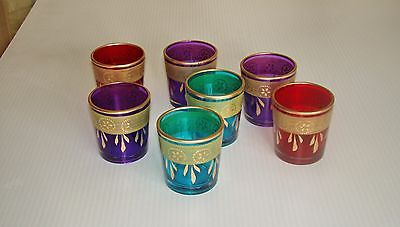 4 Purple Small Votive Holders with Gold Zari Boarders,Vases - Hatherley Fine Art Gallery