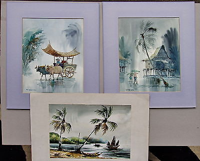 3 x Watercolour paintings