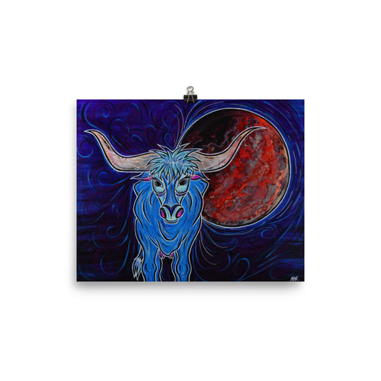 Blood Moon and Blue (Longhorn) Print