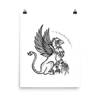 Griffin and Olive Branch Latin Phrase Print