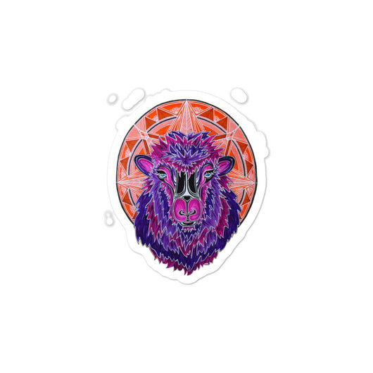 Purple Sheep Mandala Bubble-free stickers