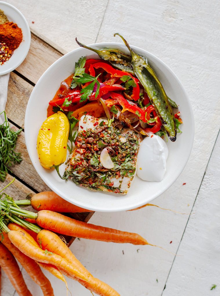 Jerk Hake with Roast Carrot Salad and Coconut Yoghurt