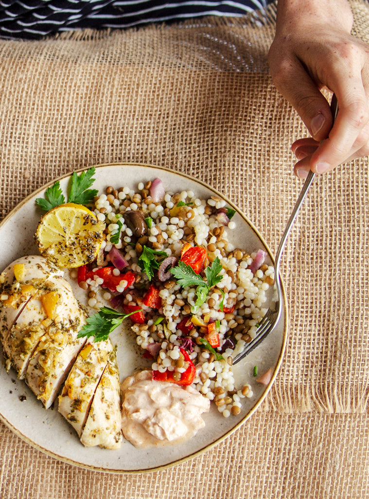 Oregano and Lemon Chicken with Warm Moroccan Couscous