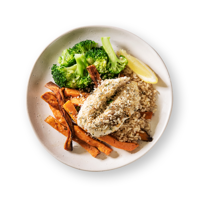 Herbed Barramundi with Sweet Potato Fries
