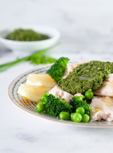 Green Salsa Verde Fish with Seasonal Veg